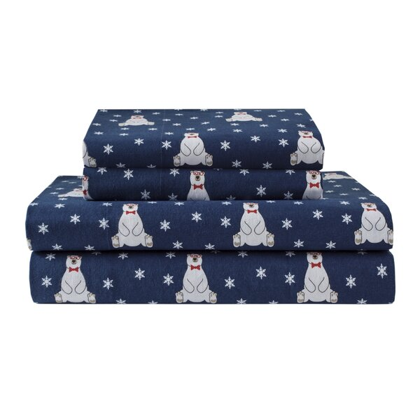 Winter Nights Bears 100% Cotton Flannel Sheet Set by The Holiday Aisle
